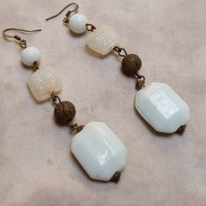 Stunning Vintage Earrings Milk Glass Mid Century